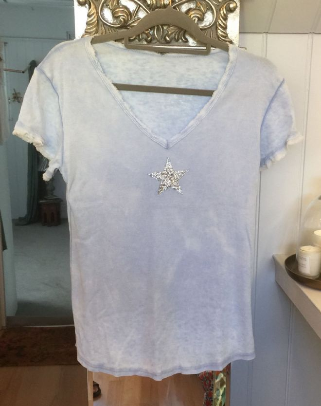 Star Short Sleeve T Shirt - Pale Blue